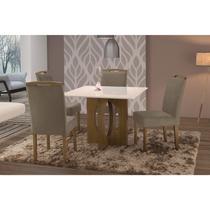Conjunto Sala de Jantar  em Madeira Maciça Mesa Suécia 4 Cadeiras Priscila Siena Móveis Castanho/Suede 15 -