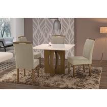 Conjunto Sala de Jantar  em Madeira Maciça Mesa Suécia 4 Cadeiras Priscila Siena Móveis Castanho/Suede  67 -