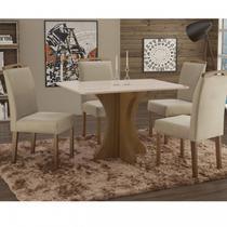 Conjunto Sala de Jantar em Madeira Maciça Mesa Tampo de Vidro Turim 4 Cadeiras Priscila Espresso Móveis Castanho/Suede 67 -