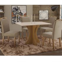Conjunto Sala de Jantar em Madeira Maciça Mesa Tampo de Vidro Turim 4 Cadeiras Priscila Espresso Móveis Imbuia Natural/Suede 15 -