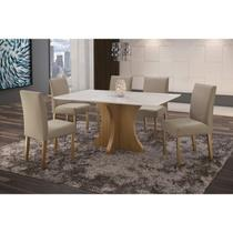 Conjunto Sala de Jantar em Madeira Maciça Mesa Turim 6 Cadeiras Lara Espresso Móveis Imbuia Natural/Suede 35 -