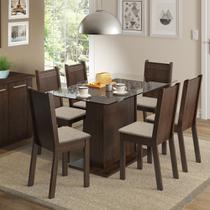 Conjunto Sala de Jantar Gales Madesa Mesa Tampo de Vidro com 6 Cadeiras -