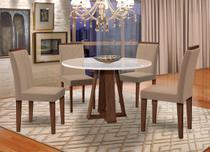 Conjunto Sala de Jantar Isabela Mesa Redonda 4 Cadeiras Estofadas Amanda Veludo Marrom - New Ceval -