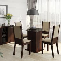 Conjunto Sala de Jantar Isis Madesa Mesa Tampo de Vidro com 4 Cadeiras -