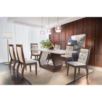 Conjunto Sala de Jantar Lara 180 MDF LAQUEADO com 06 Cadeiras - Rufato