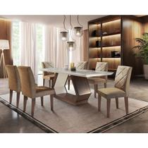 Conjunto Sala de Jantar Lara 6 Cadeiras Berlim Rufato -