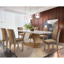 Conjunto Sala de Jantar Lara 6 Cadeiras Grécia Rufato -
