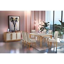 Conjunto Sala de Jantar Liz 180 com 6 cadeiras MDF Vidro - Rufato