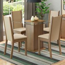 Conjunto Sala de Jantar Madesa Aline Mesa Tampo de Vidro com 4 Cadeiras -