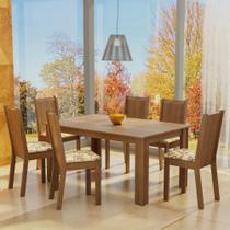 Conjunto Sala de Jantar Madesa Analu Mesa Tampo de Madeira com 6 Cadeiras -