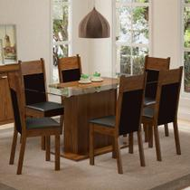 Conjunto Sala de Jantar Madesa Atlanta Mesa Tampo de Vidro com 6 Cadeiras -