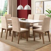 Conjunto Sala de Jantar Madesa Aurora Mesa Tampo de Vidro com 6 Cadeiras -