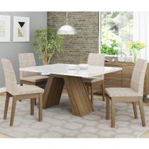 Conjunto Sala de Jantar Madesa Ayla Mesa Tampo de Vidro com 4 Cadeiras -