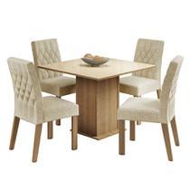 Conjunto Sala de Jantar Madesa Brenda Mesa Tampo de Vidro com 4 Cadeiras -