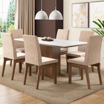 Conjunto Sala de Jantar Madesa Cecília Mesa Tampo de Madeira com 6 Cadeiras -