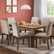 Conjunto Sala de Jantar Madesa Cibele Mesa Tampo de Madeira com 6 Cadeiras -