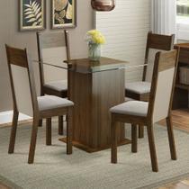 Conjunto Sala de Jantar Madesa Dallas Mesa Tampo de Vidro com 4 Cadeiras -