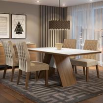 Conjunto Sala de Jantar Madesa Diana Mesa Tampo de Madeira com 4 Cadeiras -