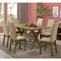 Conjunto Sala de Jantar Madesa Everest Mesa Tampo de Madeira com 6 Cadeiras -