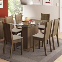 Conjunto Sala de Jantar Madesa Gales Mesa Tampo de Vidro com 6 Cadeiras -