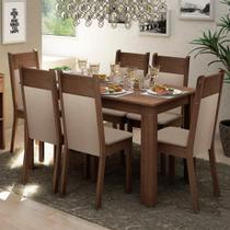 Conjunto Sala de Jantar Madesa Jaíne Mesa Tampo de Madeira com 6 Cadeiras -