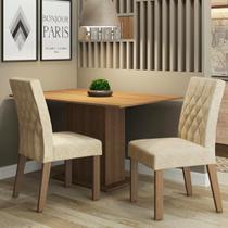 Conjunto Sala de Jantar Madesa Lia Mesa Tampo de Madeira com 2 Cadeiras -