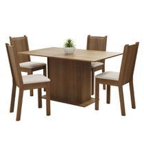 Conjunto Sala de Jantar Madesa Luana Mesa Tampo de Madeira com 4 Cadeiras - Rustic/Pérola -