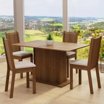 Conjunto Sala de Jantar Madesa Luana Mesa Tampo de Madeira com 4 Cadeiras -
