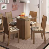Conjunto Sala de Jantar Madesa Lucy Mesa Tampo de Vidro com 4 Cadeiras -