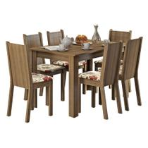 Conjunto Sala de Jantar Madesa Maris Mesa Tampo de Madeira com 6 Cadeiras -
