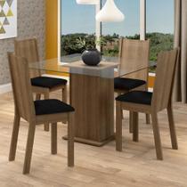 Conjunto Sala de Jantar Madesa Maya Mesa Tampo de Vidro com 4 Cadeiras -