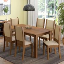 Conjunto Sala de Jantar Madesa Melissa Mesa Tampo de Madeira com 6 Cadeiras -