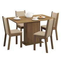 Conjunto Sala de Jantar Madesa Mirela Mesa Tampo de Madeira com 4 cadeiras -