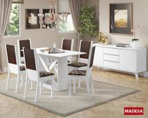 Conjunto Sala de Jantar Madesa Moline Mesa Tampo de Madeira com 6 Cadeiras -