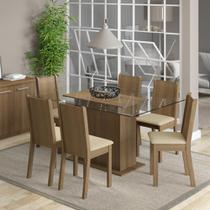 Conjunto Sala de Jantar Madesa Molly Mesa Tampo de Vidro com 6 Cadeiras -