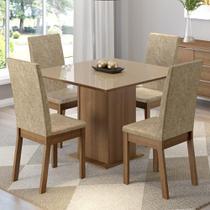 Conjunto Sala de Jantar Madesa Moscou Mesa Tampo de Vidro com 4 Cadeiras -