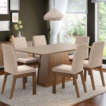 Conjunto Sala de Jantar Madesa Rebeca Mesa Tampo de Madeira com 6 Cadeiras -