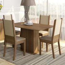 Conjunto Sala de Jantar Madesa Rita Mesa Tampo de Madeira com 4 Cadeiras -