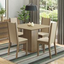 Conjunto Sala de Jantar Madesa Roma Mesa Tampo de Madeira com 4 Cadeiras -