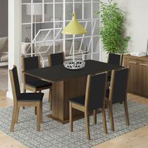 Conjunto Sala de Jantar Madesa Roma Mesa Tampo de Madeira com 6 Cadeiras -
