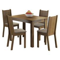 Conjunto Sala de Jantar Madesa Rute Mesa Tampo de Madeira com 4 Cadeiras -