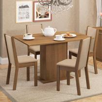 Conjunto Sala de Jantar Madesa Talita Mesa Tampo de Madeira com 4 Cadeiras -