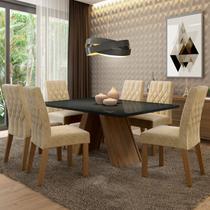 Conjunto Sala de Jantar Madesa Vanessa Mesa Tampo de Vidro com 6 Cadeiras - Madesa Móveis -