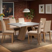 Conjunto Sala de Jantar Madesa Yasmin Mesa Tampo de Madeira com 6 Cadeiras -