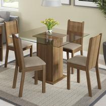 Conjunto Sala de Jantar Magda Madesa Mesa Tampo de Vidro com 4 Cadeiras -