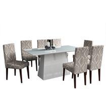 Conjunto Sala de Jantar Mesa 08 Cadeiras Letícia Branco - Ammo Mobili -