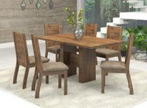 Conjunto Sala de Jantar Mesa 136x77 cm e 6 Cadeiras Dublin Viero Castanho/Canela - Veiro Móveis