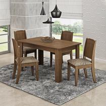 Conjunto Sala de Jantar Mesa 4 Cadeiras Bárbara Cimol Color Flex Savana/Café -