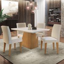 Conjunto Sala de Jantar Mesa 4 Cadeiras Carolina Espresso Móveis Veludo Creme -