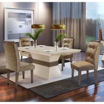 Conjunto Sala de Jantar Mesa 4 Cadeiras Luísa Espresso Móveis Animalle Chocolate/Off White/Café -